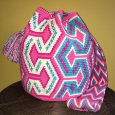 Authentic 100% Wayuu Mochila Colombian Bag Large Size Pink Blue Pastel Bucket  | eBay