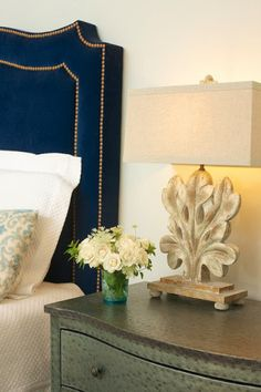 Velvet Headboard, Master Bedroom, Upholstered Cubes, Metal Chests, Nail Head, Navy, Turquoise, Botanical Lamp, Marianne Strong Interiors, Haven and Home