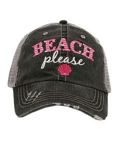 Gray 'Beach Please' Trucker Hat