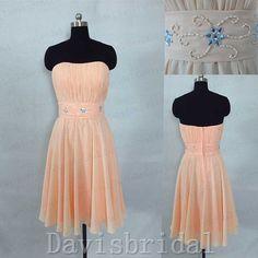 Peach chiffon knee length bridesmaid dress//waist beaded short bridesmaid dresses/simple homecoming dress cocktail dress wedding party dress