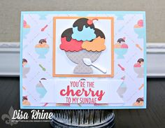 Get Crafty with Lisa:  You're the Cherry to My Sundae Card.  This card features Stampin' Up!'s Cool Treats Stamp Set, Frozen Treats Framelits Dies, and Tasty Treats Specialty Designer Series Paper.  www.getcraftywithlisa.com