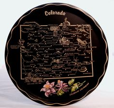 Colorado Painted Souvenir Tray, State Map, Black with Purple Columbine Flower, 1950s