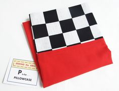 FINISH FLAG Pillowcase with Black and White CHECKERED Fabric . . . $15 . . . GREAT for RACE CAR FANS . . . by SEWINGtheABCs on Etsy . . . PIN IT Now to FIND IT Later . . . Find great selection of Novelty Pillowcases in my Shop. #Racing #Racing Fan Gift #Finish Flag #Checkered Flag