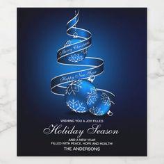 Elegant Christmas Greetings Holiday Wine Label #christmas #personalized #holiday #wine #labels