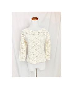 ae900e70f8b White LACE Top, 90's Vintage Boat Neck, Crochet Lace Fitted Pullover, Girly  Shirt