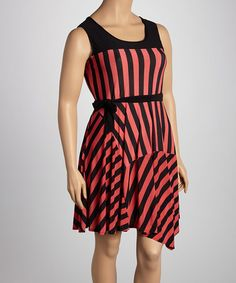 Take a look at this Coral & Black Stripe Sleeveless Dress - Plus by Maya Plus on #zulily today!