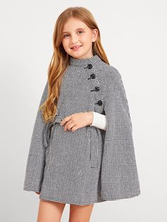 To find out about the Girls Cape Sleeve Houndstooth Coat With Belt at SHEIN, part of our latest Girls Jackets & Coats ready to shop online today! Dresses Kids Girl, Kids Outfits Girls, Cute Girl Outfits, Cute Dresses, Prom Dresses, Girls Fashion Clothes, Tween Fashion, Teen Fashion Outfits, Girls Cape