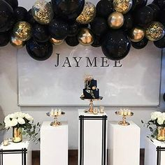 Gold Birthday Party, Halloween Birthday, Birthday Party Decorations, Graduation Centerpiece, 30th Birthday, Birthday Celebration, Balloon Arch, Balloon Garland, Balloon Decorations