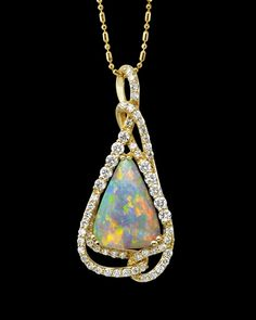 Parle Jewelry Designs Australian opal and diamond pendant | Limited Production available for order at Lake Oswego Jewelers