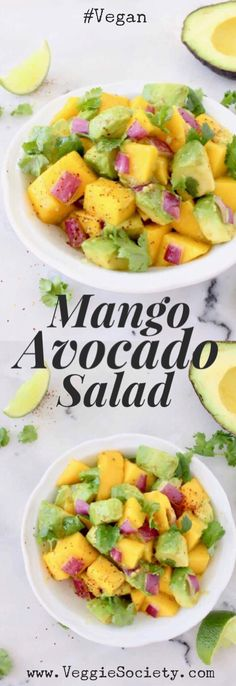 Avocado Mango Salad with Cilantro Lime Dressing Recipe | VeggieSociety.com #vegan #avocado #mango #wfpb