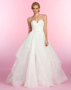 Ivory pinstripe organza ball bridal gown, sculpted bodice with center v-notch, gathered band at natural waist and full cascading skirt. Esther, Style HP6507 by JLM Couture, Inc.
