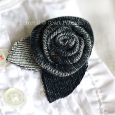Recycle: Denim Rosette Brooch