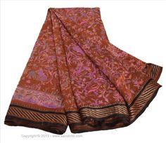 VINTAGE INDIAN SAREE PRINTED FABRIC PURE SILK SARI CRAFT WOVEN BORDER 5 YD BROWN