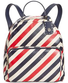 Tommy Hilfiger Julia Diagonal Coated Stripe Dome Small Backpack In Tommy Navy Tommy Hilfiger Luggage, Tommy Hilfiger Totes, Tommy Hilfiger Fashion, Tote Backpack, Small Backpack, Leather Backpack, Backpack Reviews, White Tote Bag, Stylish Backpacks