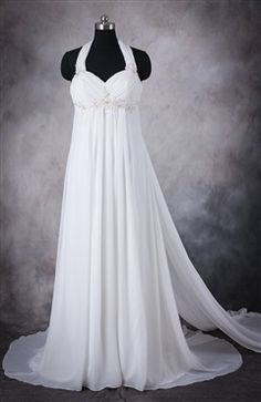 Summer is coming and you have to think on a wedding dress that can give you the comfort and flexibility that you need. The Chiffon Halter Destination Wedding Gown With Watteau Train can make you feel fresh when walking to the aisle. Shop it here: http://www.outerdress.com/chiffon-halter-destination-wedding-gown-with-watteau-train-pd-10419-13.html. This wedding dress is Style Code: 10419 and US$129.00 #wedding #dress #gown #bridal #bride #outerdress