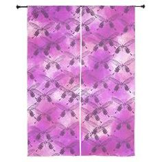 Purple and butterfly curtains.