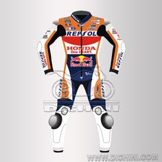 Honda Repsol 2016 Motogp Red Bull Maquez Leather SuitHonda Repsol 2016 Motogp Red Bull Maquez Leather Suit - Pre-curved sleeves for proper riding position, Dual stitched main seams for excellent tear resistance, Nylon Stitched, Leather Patches throughout the Body shell, This suit features excellent