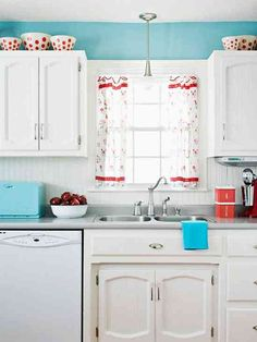 blue and red kitchen bhg