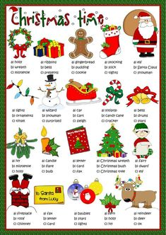 Risultati immagini per christmas vocabulary da stampare