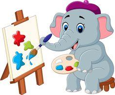 Cute Elephant Cartoon, Funny Elephant, Cute Baby Elephant, Little Elephant, Baby Cartoon, Baby Shower Greetings, Baby Shower Greeting Cards, Baby Shower Invitation Cards, Baby Room Paintings