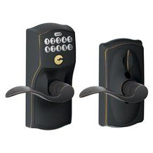 Schlage FE595-716 Aged Bronze (Lifetime Finish) Camelot Accent Keypad Entry with Flex Lock by Schlage Lock Company. $139.00. FE595-716 Aged Bronze (Lifetime Finish) Camelot Accent Keypad Entry with Flex Lock Schlage Keypad Deadbolts ready to use, right out of the box. • Requires a 9-volt battery (included) • Comes pre-programmed with two user codes. • Easy to install. One Person. One Tool. Under 30 minutes.* • After the keypad lock is installed, simply enter in ...