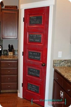"Are you looking for some ""do it yourself"" projects? Anything to keep you busy but also make your home look cozy, comfortable, and adorable? A bright color and some chalk paint will make for a busy afternoon. You can make a ""menu door"" as pictured here. Get in touch with your inner creativity by viewing our Pinterest page. #DIY #FunFactFriday"