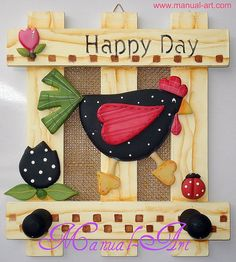 En fomy Chicken Crafts, Chicken Art, Arte Country, Country Crafts, Tole Painting, Painting On Wood, Rooster Craft, Arte Pallet, Home Crafts