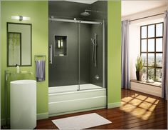 This one is another beautiful shower enclosure that is having glass doors and a rectangular shape that you can either use with a bathtub of a sprinkling shower.