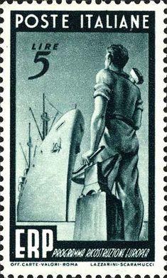 Italy Stamp 1949 - Emesso il 30 maggio 5 L. - Operaio e nave