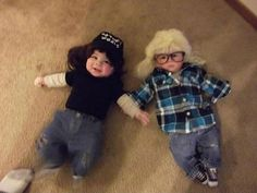 LoL!!! freggin adorable! Wayne's World babies. I remember always wanting a licorice dispenser in my car after watching that movie.