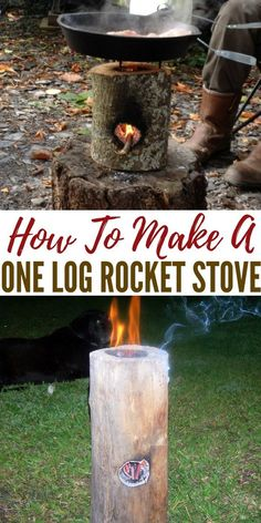 How To Make A One Log Rocket Stove. This one log rocket stove is a hybrid of a Swedish candle and will rock your camping world. Easy and cheap to make Survival Food, Camping Survival, Outdoor Survival, Survival Prepping, Survival Skills, Camping Hacks, Survival Videos, Camping Checklist, Swedish Fire Log