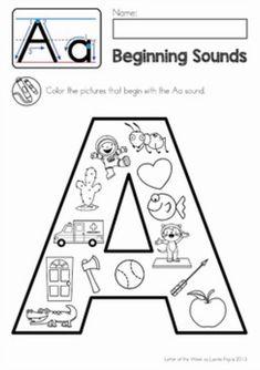 Beginning Sounds Kindergarten, Beginning Sounds Worksheets, Beginning Of School, Preschool Letters, Preschool Curriculum, Preschool Learning, Literacy Worksheets, Vowel Worksheets, Alphabet Crafts