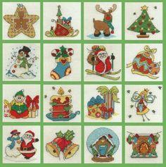Set of 16 Christmas Mini Cross Stitch Kits - Only £33.50 on Past Impressions