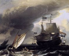Dutch Vessels on the Sea at Amsterdam by Ludolf Backhuysen