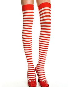 Take a look at this Red & White Stripe Opaque Thigh-High Stockings - Women by Music Legs on #zulily today!