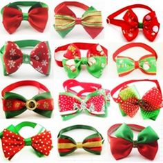 50pcs/lots Christmas Pattern Dog Ties Pet Dog Neckties Bowties Polyester Cute Dog Bow Tie Dog Grooming Products 12Color Supplies