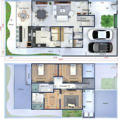 Planta de casa moderna con 3 dormitorios. Plano para terreno 10x20