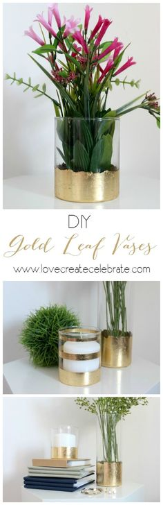 DIY Gold Leaf Vases