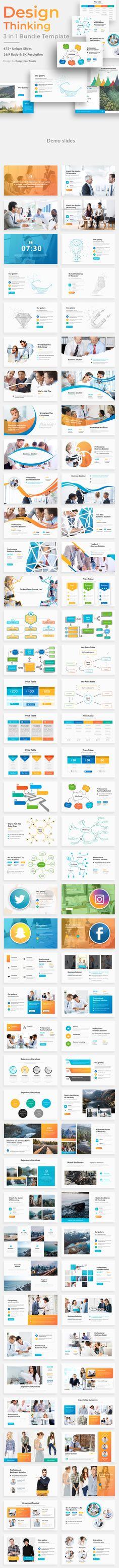 Design Thinking 3 in 1 Pitch Deck Bundle Powerpoint Template Business Powerpoint Presentation, Creative Powerpoint Templates, Design Thinking, Keynote Template, Presentation Design, Web Design, Graphic Design, Deck, Pitch