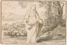 Jan Luiken | Female Saint with Arms Outstretched | Drawings Online | The Morgan Library & Museum