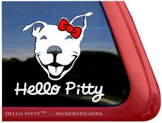 "Hello Pitty ~ Smiling Pit Bull Terrier Dog Decal Sticker - 5"" tall x 5"" wide 