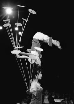 """Nov. 18, 1988: The Nanjing Acrobatic Troupe performing stunts for the handicapped at the Big Apple Circus in Lincoln Center. The production, titled """"The Big Apple Circus Meets the Monkey King,"""" featured  """"daredevil fliers and deft-handed jugglers,"""" a critic wrote. """"Even the animals could qualify as new vaudevillians."""""""