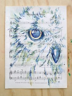 "Snowy Owl ORIGINAL Watercolor on Inspirational Vintage Hymn ""Whispering Hope"" sheet music by  kit sunderland,    $125.00"