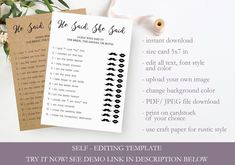 Editable Bridal Shower Games - He Said She Said, Guess Who Said It Wedding Shower DIY Game, Printable Party Games, Instant Download, #shower #games #fun #game #hesaidshesaid #ideas #activities #funny #interactive #unique #brideorgroomgame #questions #bridal