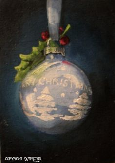 """""""A VERY SHINY BRITE CHRISTMAS"""", vintage blue ornament original painting by WitsEnd, via Etsy. SOLD"""