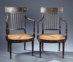 American Federal Paint-Decorated  Fancy Arm Chairs - Circa 1820.