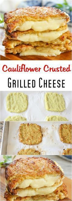 Cauliflower Crusted Grilled Cheese Sandwiches. A delicious low carb alternative! #glutenfree #eatclean Cauliflower, Grilling, Vegetarian Recipes, French Toast, Sandwiches, Low Carb, Veg Recipes, Low Carb Recipes, Vegan Recipes