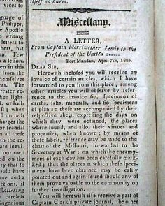 Report from Meriwether Lewis to President Thomas Jefferson... THE BALANCE & COLUMBIAN REPOSITORY, Hudson, New York, August 13, 1805 newspaper... Sally Hemings, Famous People In History, Lewis And Clark Trail, William Clark, Louisiana History, Second Lieutenant, August 13, Thomas Jefferson, Family History
