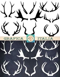 ANTLER ClipArt Elements 16 Black and White Deer Elk Moose Antlers Clip Art Digital Download Printable Graphic for DIY Projects, Scrapbooking Supplies by graficaitalia