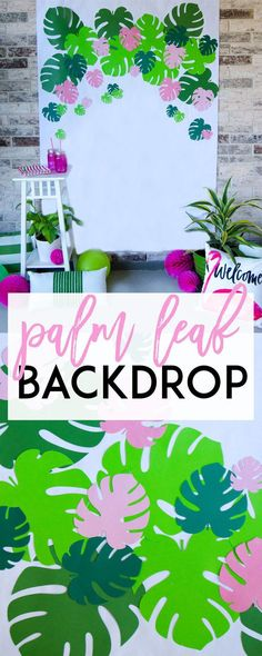 How to use your Cricut Machine to make this Palm Leaf Backdrop! Free SVG file available. Perfect for your flamingo party, summer party or luau party! Sleepover Party, Party Kulissen, Beach Party, Sleepover Activities, Neon Party, Work Party, Flamingo Party, Flamingo Birthday, Diy Party Decorations